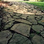 Uneven flagstone walkway to cabin.