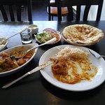 Chicken Jalfrezi, Peshwari Naan, Pilar Rice, Salad, Mango Lassi