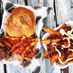 Pulled Pork Burger, fries and Sweet Potato fries