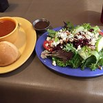 Blue moon salad and tomato bisque soup. Delicious.  Crepes delicious with fresh berries.  Great