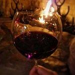 Enjoying the Madonna Inn house wine.