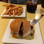 Burger fries and a root beer