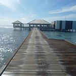 A walk along a jetty to Falhuma restaurant , excellent service quality and whole experience surr