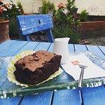 Gluten free brownie in the garden