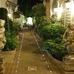 A lovely lit pathway to the hotel.