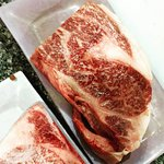 beautifully marbled steak