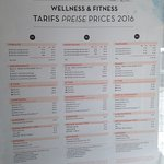 Tarifs du Wellness & Fitness