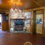 Delightful working fieldstone wood burning fireplace