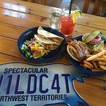 Fish Tacos, Bison Burger and a Ceasar along with the backside of a menu!