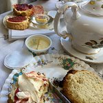 Lovely cream tea in the afternoon. If you love dogs both these will love you back, if u don't th