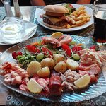 burger and chips and seafood platter