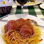 Here is one of my Fav's Angel hair paste with Fradiavo Sauce with two Meatballs. Chianti..