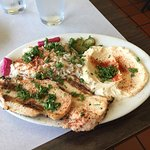 The Today Special. Chicken breasts, rice, salad and hummus