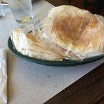 Fresh hot pita bread that came with garlic sauce