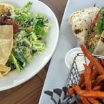 caeser salad, roasted veggie wrap, sweet potato fries