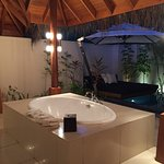 Bungalow No 3, lounge bed with plunge pool & waterfall shower