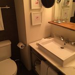 cramped sink and toilette area