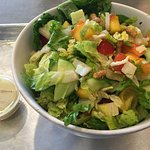 peach and cucumbers and tomato with ginger dressing