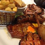 Steak, Sausages, Bacon and Chips