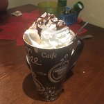 Hot chocolate with lots of fun toppings.