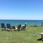 Outside deluxe lakefront cabin