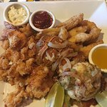 Seafood platter- good for 2 people. Picture doesn't do justice. This has a whole big lobster, fr