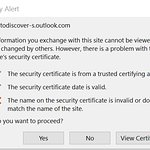 Security certificate for email has a flaw detected by the most modern browsers.