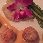Main dish of scallops, mashed potato and perfectly cooked asparagus!