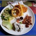 Lunch special with chicken teriyaki, shrimp tempura, and california roll.