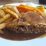 Steak pie and chunky chips