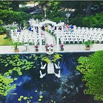 Our Poolside Ceremony Area is perfect for weddings up to 150 guests!