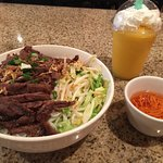 Fabulous Beef Noodle Bowl & Delicious Peach Smoothie