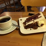 Delicious Black Forest Cake and Coffee