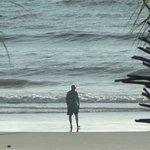 Une marche matinale sur la plage...immortalisée de la chambre!