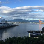 The amazing view of Vancouver Harbor and the mountains in the distance