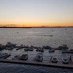 Dockside sunset view from hotel verandah