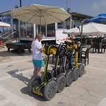 segways parked up at the Lighthouse bar for a cold drink