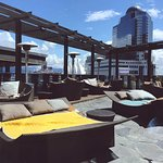Sunning deck with city and Coal Harbor views