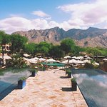 great view of desert mountains from hotel's main building and pool area
