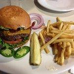 Mesa Verde's Guacamole Bacon Burger with Fries, Pickle & Jalapenos