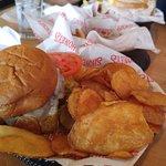 Mushroom Swiss Burger and Chips