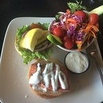 Salmon burger with salad