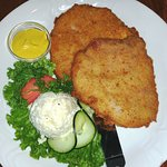 """Smoked Pork Chop (""""Kassler"""") Breaded with a choice of potato salad"""