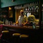 Mine host, Ian, behind the bar
