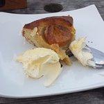 Warm Roasted Peach & Frangipane Tart with Cornish Clotted Cream