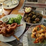 Kalahari,marinated shrimp, Boulot, fish and chips, fish a la Blanche and a soup with cod, mussel