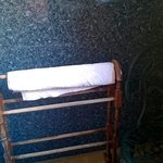 Worn towel stand. Towel was on floor later after guest had shower.