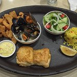 The seafood platter with calamari, mussels and fish