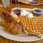 Chicken and Waffles are to die for! lol the syrup and butter alone make your mouth just water.