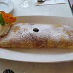 Dessert: pancake with strawberries